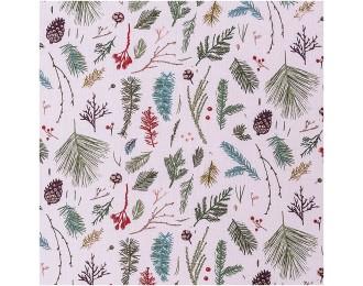 Tissu coton forêt rose -...